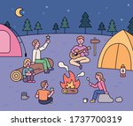 friends sit around a campfire... | Shutterstock .eps vector #1737700319