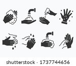 hand wash icons set. vector... | Shutterstock .eps vector #1737744656