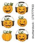 halloween party pumpkins | Shutterstock . vector #173777933