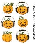 halloween party pumpkins | Shutterstock . vector #173777933
