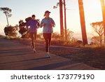 running at sunrise couple...   Shutterstock . vector #173779190