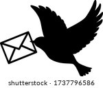 bird carrying a letter icon | Shutterstock .eps vector #1737796586