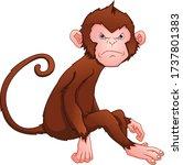 Cute Monkey Cartoon On A White...
