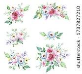 set watercolor flowers painting ... | Shutterstock . vector #1737827210