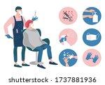 hair salon during a coronavirus.... | Shutterstock .eps vector #1737881936