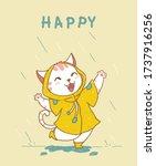 cute happy white cat in yellow...   Shutterstock .eps vector #1737916256