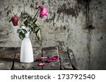 withered roses in vase on old... | Shutterstock . vector #173792540