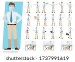 set of businessman wearing... | Shutterstock .eps vector #1737991619