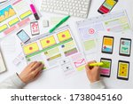 web designer draws sketches for ...