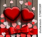 glass valentine hearts on wood... | Shutterstock .eps vector #173805389