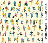 Seamless Pattern Of People Man...