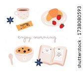 enjoy morning set. breakfast...   Shutterstock .eps vector #1738080593
