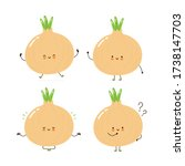 cute happy onion character set... | Shutterstock .eps vector #1738147703