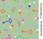 seamless stylized  keys and... | Shutterstock . vector #1738169216