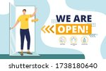we are working again after... | Shutterstock .eps vector #1738180640