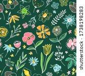 floral vector pattern. seamless ... | Shutterstock .eps vector #1738198283