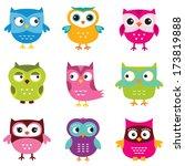 owls vector set | Shutterstock .eps vector #173819888