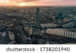 Manchester Cityscape At Sunset. ...