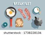 breakfast on the table. fried...   Shutterstock .eps vector #1738228136