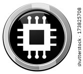 electronic chip round icon. | Shutterstock .eps vector #173825708