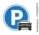 car   automobile parking sign... | Shutterstock .eps vector #1738268579