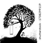 swing on tree  childhood... | Shutterstock .eps vector #1738299119