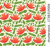 retro botany seamless pattern.... | Shutterstock .eps vector #1738319006
