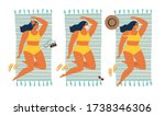 unusual tan. girl sunbathing in ... | Shutterstock .eps vector #1738346306