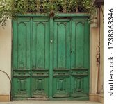 Green Vintage . Retro Doors In...