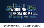 working from home word cloud on ... | Shutterstock .eps vector #1738410890