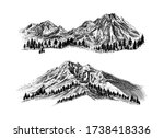 mountain with pine trees and... | Shutterstock .eps vector #1738418336