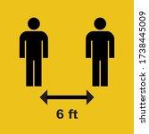social distancing 6 ft sign.... | Shutterstock .eps vector #1738445009