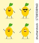 set of cute flat cartoon lemon...   Shutterstock .eps vector #1738538960