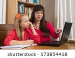 a mother and her young daughter ... | Shutterstock . vector #173854418