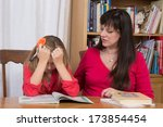 a mother consoles her young... | Shutterstock . vector #173854454