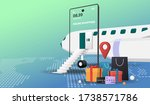 online shopping with plane... | Shutterstock .eps vector #1738571786