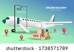 online shopping with plane... | Shutterstock .eps vector #1738571789
