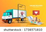 online shopping with truck... | Shutterstock .eps vector #1738571810