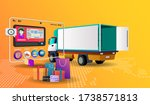 online shopping with truck... | Shutterstock .eps vector #1738571813