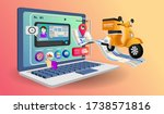online shopping with computer... | Shutterstock .eps vector #1738571816