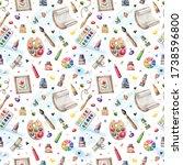 seamless pattern with artist s... | Shutterstock . vector #1738596800