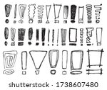 set of different sketched... | Shutterstock .eps vector #1738607480