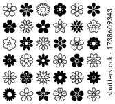 flower icon collection   vector ... | Shutterstock .eps vector #1738609343