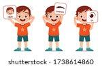 happy cute kid boy body part... | Shutterstock .eps vector #1738614860