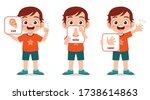 happy cute kid boy body part... | Shutterstock .eps vector #1738614863
