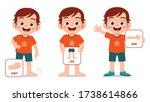 happy cute kid boy body part... | Shutterstock .eps vector #1738614866