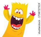 funny cartoon monster creature. ... | Shutterstock .eps vector #1738727519
