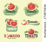 set of tomato labels and symbols | Shutterstock .eps vector #173874656