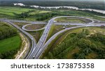ST PETERSBURG, RUSSIA - JULY 19, 2007: Aerial View of Highway Overpass Highways. Ringway, St. Petersburg, view from above, aerial photography.  Junction expressway  network roads - stock photo