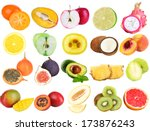collage of fresh fruits...   Shutterstock . vector #173876243